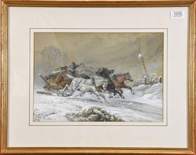Lot 1010 - Richard Beavis RI, RWS, (1824-1896) The Wallachian post sleigh at full gallop, signed and dated...
