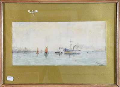 Lot 1011 - Probably William Frederick Settle of Hull (1821-1897), Naval ships in open waters, monogrammed WFS