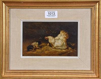 Lot 1013 - English School (19th century) 'The Careful Mother', oil on panel, bearing signature 'Herring', 12cm