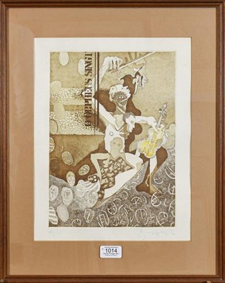 Lot 1014 - Terence Millington 'Standing Man', signed, 9/75 a**** unframed, 49cm by 37cm together with...