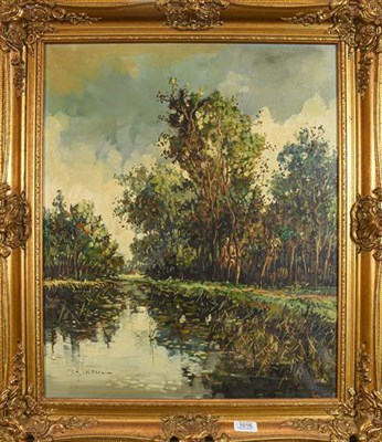 Lot 1016 - R H Herman (20th century) river landscape, signed oil on canvas, 60cm by 50cm together with a...