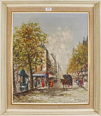 Lot 1018 - Franchini (20th century) Continental, Edwardian streetview with figure and horse and cart,...