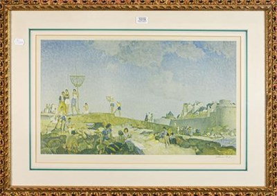 Lot 1019 - After Sir WIlliam Russell Flint RA ROI (1880 -1969), Beachgoers on the coast, signed in pencil,...