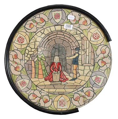 Lot 1020 - A pair of rounded stained glass window designs, Tudor scenes, pen, ink and watercolour, 50cm...