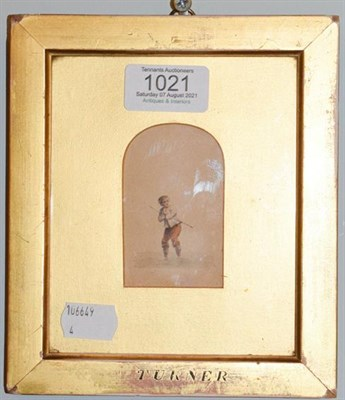 Lot 1021 - A 19th century watercolour of a boy in arched mount, framed inscribed 'Turner' 7cm by 5cm
