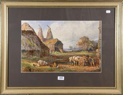 Lot 1024 - Attributed to Sydney Goodwin (1867-1944) Farmer with horse and cart outside thatched barn and...