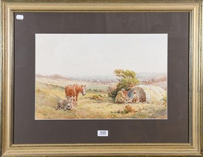Lot 1025 - Sydney Goodwin (1867-1944) Gypsy encampment with horse and donkey, signed watercolour 31.5cm by...