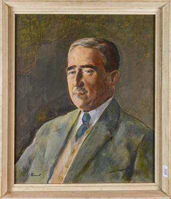 Lot 1026 - Jacob Kramer (1892-1962) A portrait of a gentleman, signed oil on canvas, 58cm by 48cm