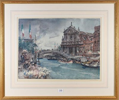 Lot 1028 - Sir Russell Flint, signed print, Venice Festival, signed in pencil to the margin, 48cm by 62.5cm