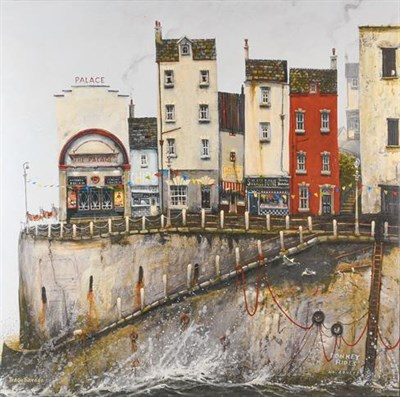 Lot 1029 - After Tracy Savage, a printed canvas of a Seaside town, 76cm by 76cm