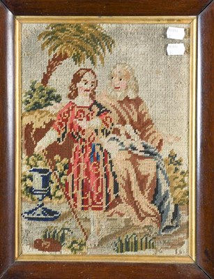 Lot 1030 - Victorian woolwork picture of an Arabian on horse back in rosewood frame together with another...