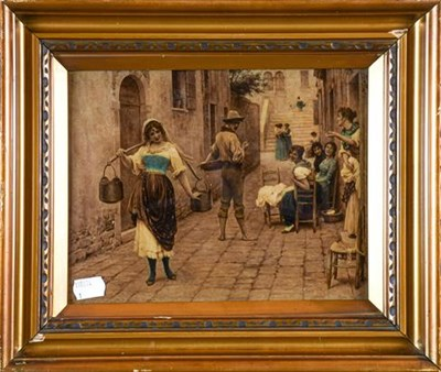 Lot 1031 - A pair of late 19th century Chrystoleums, Continental street scenes, gilt framed (2)