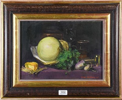 Lot 1032 - George J D Bruce (b.1930), Still life of onions, lemons and a glass, signed and dated (2006),...