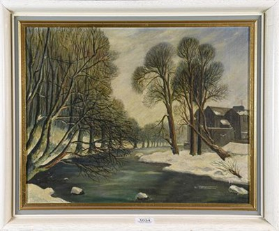 Lot 1034 - N. Tillerington (20th century) A river landscape in snow, signed oil on canvas, 34.4cm by...