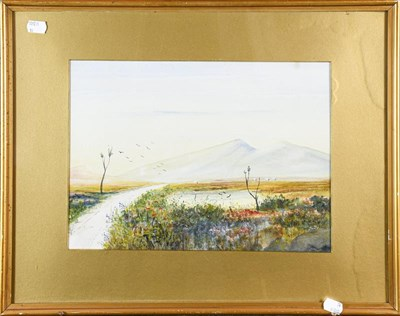 Lot 1042 - Edwin Earp (1851-1945) Lake scene, signed, oval watercolour, 40cm by 32cm with two works by...