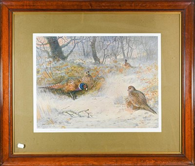 Lot 1043 - After Archibald Thorburn (1860-1935), Grouse in a winter landscape, signed print 41cm by 54cm...