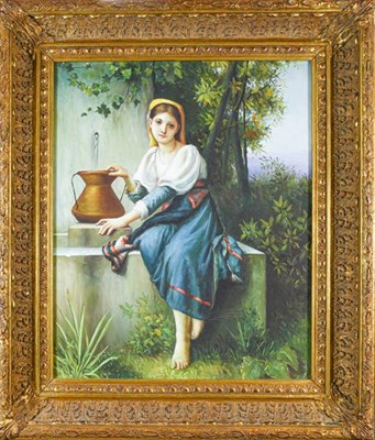 Lot 1044 - Contemporary Continental School, portrait of a maiden collecting water, unsigned oil on canvas...