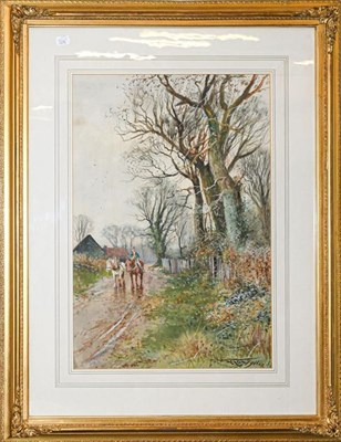 Lot 1045 - Henry Charles Fox (early 20th century) Horse mounted figure on a winter farm track Signed and dated