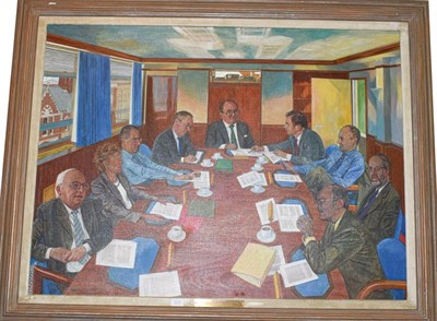 Lot 1046 - Anthony Oakshette, The Board Meeting, oil on canvas, signed and dated 2000, 90cm by 122cm