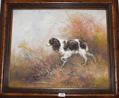 Lot 1048 - Kingman (20th century) Spaniel chasing a pheasant, signed, oil on canvas, 49cm by 59cm