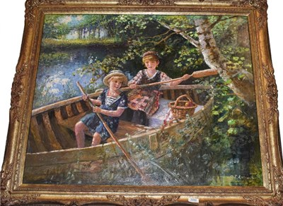 Lot 1050 - Paul J Attfield, Summer boat trip, oil on canvas, signed, 74cm by 90cm
