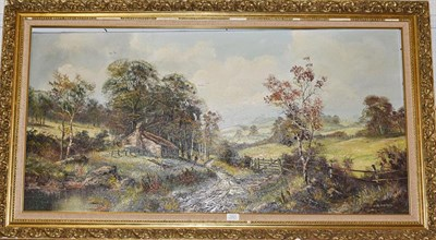 Lot 1051 - John Corcoran (Contemporary), rural scene with a cottage and figure, signed, oil on canvas, 58cm by