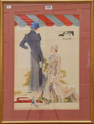 Lot 1056 - A set of four 1930's fashion watercolours for Marlbeck, the largest 53cm by 36cm