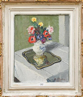Lot 1057 - A Bosia ? (20th century) Continental, Still life of flowers in a vase on a silver tray, signed...