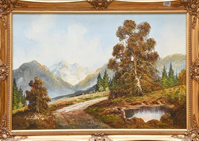 Lot 1059 - Contemporary oil on canvas, haymaking scene, 50cm by 60cm, together with another mountain...