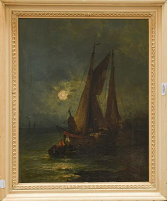 Lot 1060 - R Griffinger (19th/20th century) Nocturn Harbour, indistinctly signed, oil on board, 50.5cm by 40cm