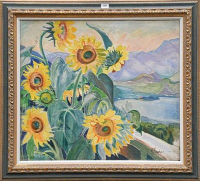 Lot 1061 - Paula Fischer (1873-1950) ''Italian Landscape with Sunflowers'' signed, inscribed verso, oil on...