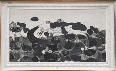Lot 1064 - Dick Lee (1923-2001) Landscape, signed and dated (19)60, with a study of two figures to the...