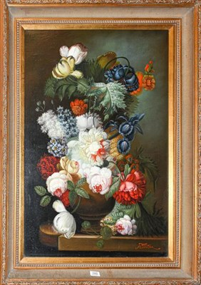 Lot 1065 - Terrence Alexander (Contemporary) Still life of flowers, signed, oil on canvas, 90cm by 60cm