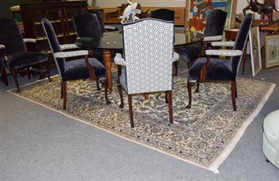 Lot 1081 - Nain Carpet, the ivory field with an all over design of scrolling vines and palmettes enclosed...