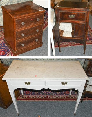 Lot 1092 - An Edwardian painted marble topped washstand, 107cm by 53cm 78cm together with a Victorian mahogany