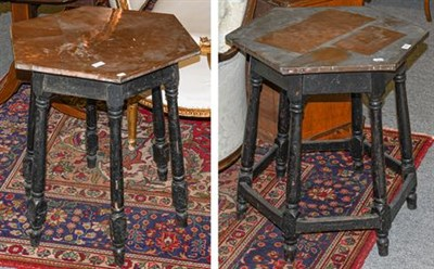Lot 1094 - ~ An early 20th century copper topped pub table, raised on six turned splay supports together...