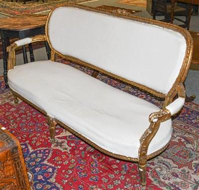 Lot 1096 - A 19th century giltwood framed French sofa (a.f.) 174cm