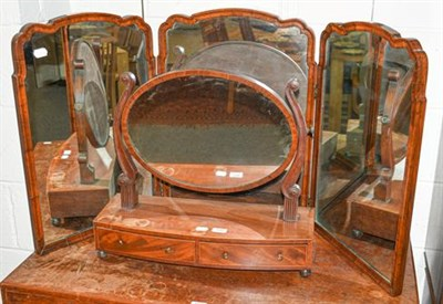 Lot 1098 - A carved walnut tryptic dressing table mirror, each panel 42cm by 64cm together with a 19th century