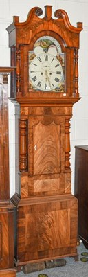 Lot 1101 - ~A 19th century mahogany eight day longcase clock with painted arched dial, incorporating a...