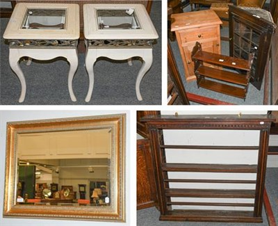 Lot 1104 - A Georgian oak wall hanging Delft/plate rack comprising three shelves, 113cm by 18cm by 110cm,...