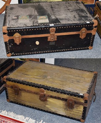 Lot 1080 - Two vintage travelling trunks, largest 91cm by 53cm by 35cm