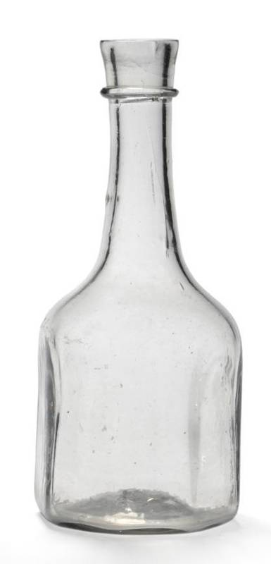 Lot 26 - A Glass Mallet Decanter, circa 1740, the cylindrical neck with string ring over a straight...