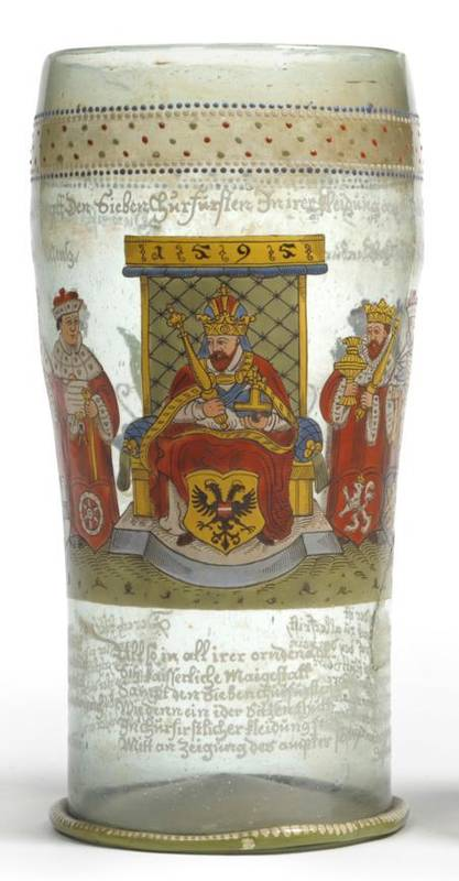 Lot 39 - A German/Bohemian Enamelled Kurfürstenhumpen, bearing the date 1595, of swollen cylindrical...