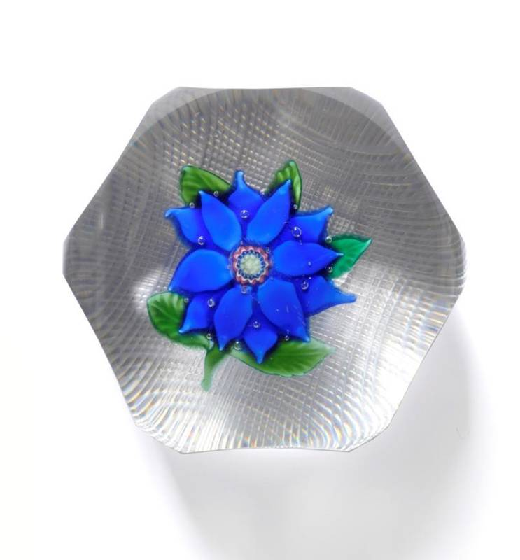 Lot 41 - A Saint Louis Clematis Weight, mid 19th century, the blue flower within six oval printies,...